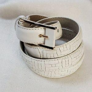 Lodis White Leather Belt sz M #1298